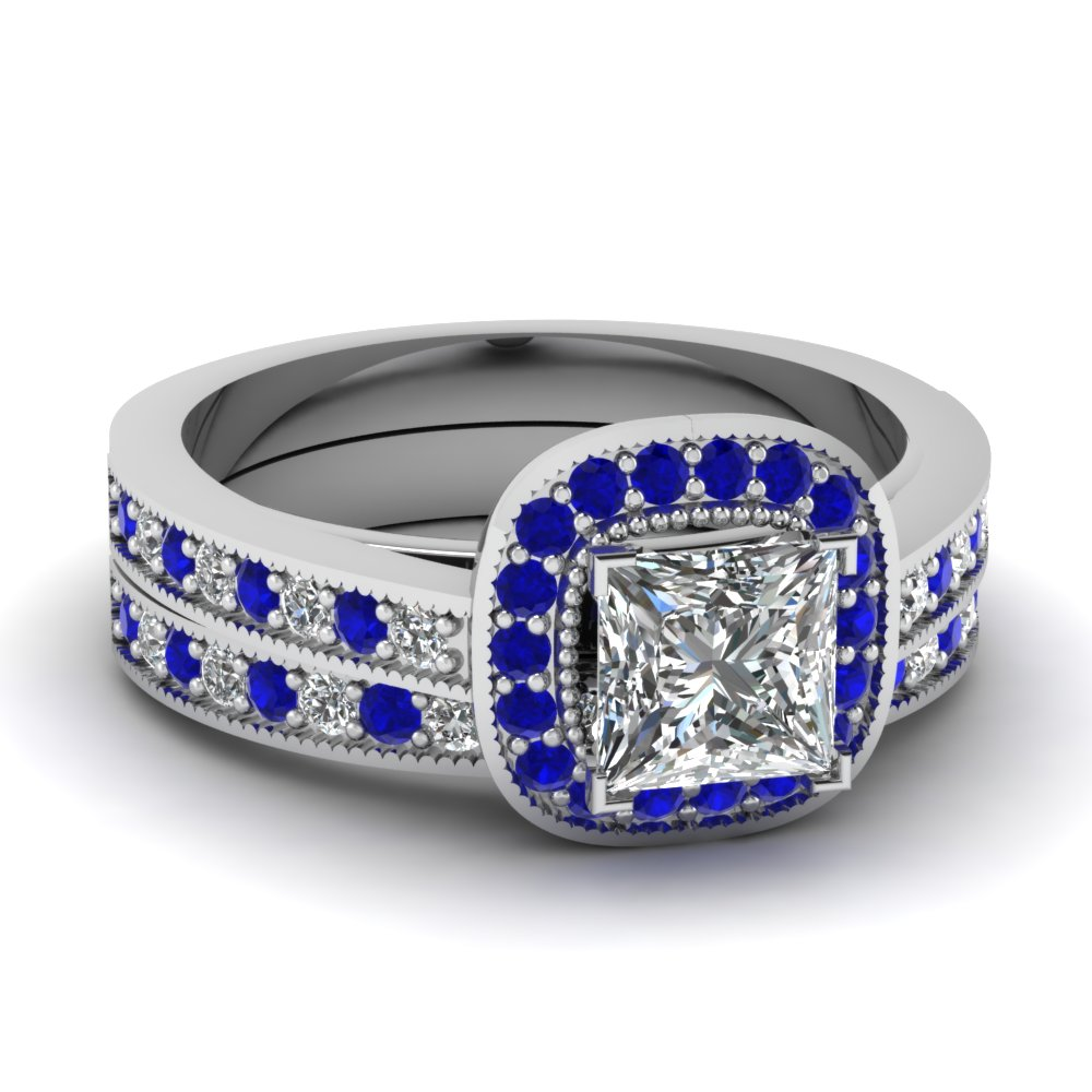 White Gold Princess White Diamond Engagement Wedding Ring Blue Sapphire In Pa