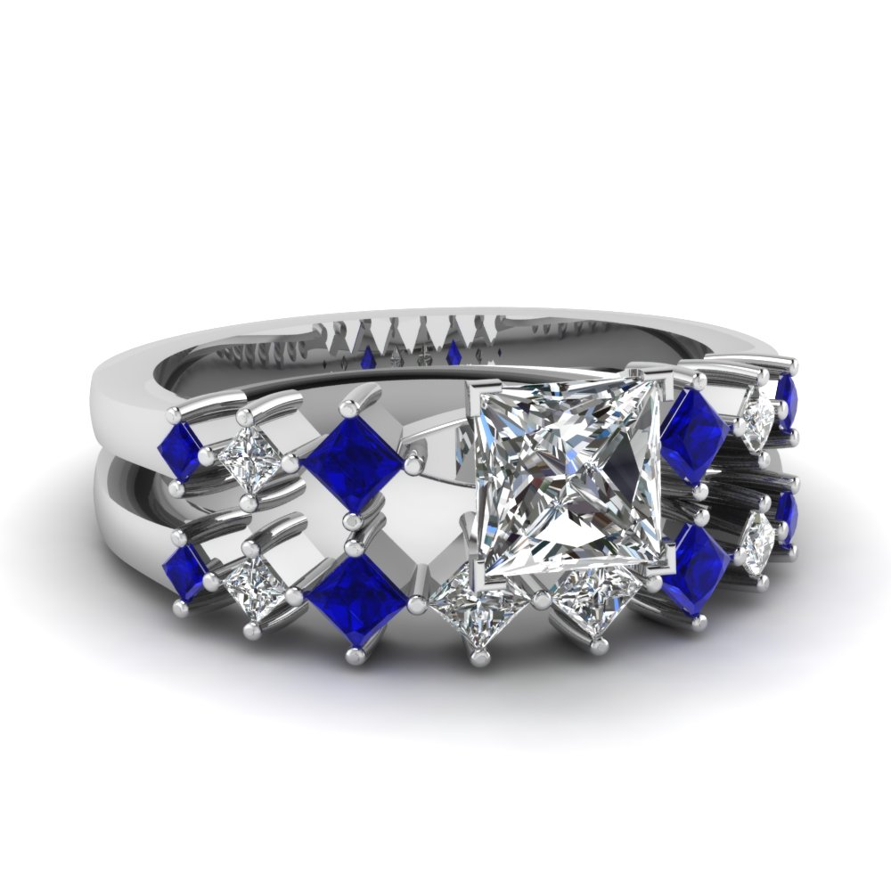 blue sapphire diamond bridal ring - Blue Sapphire Wedding Ring Sets