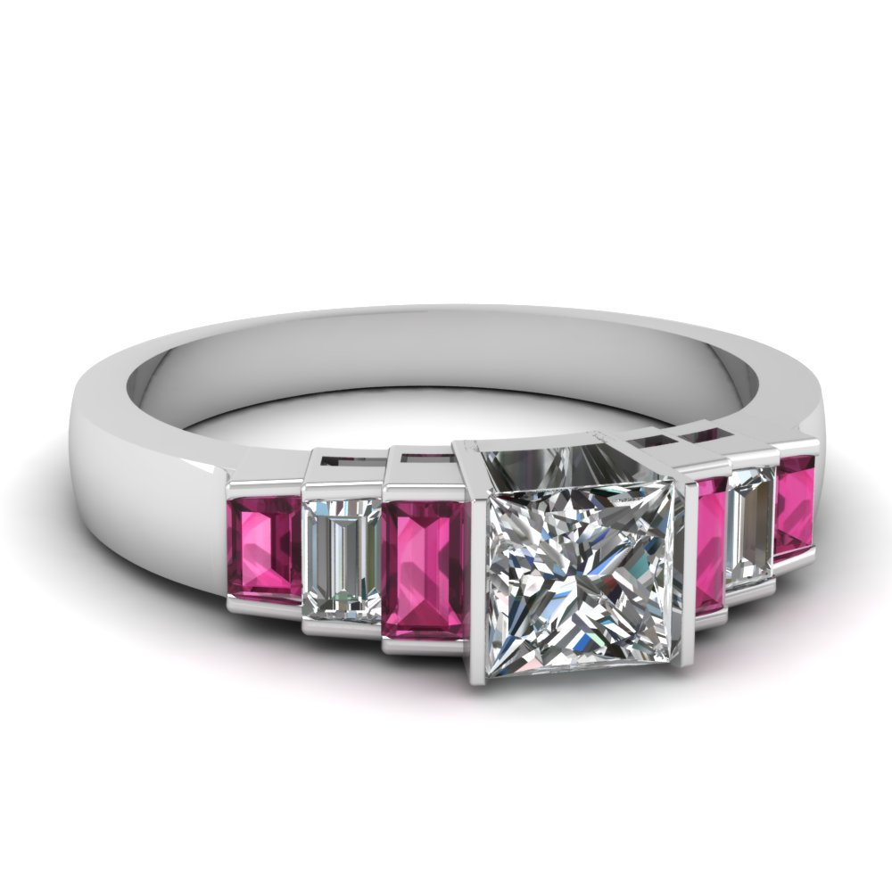Diamond Engagement Ring With Pink Sapphire Accents