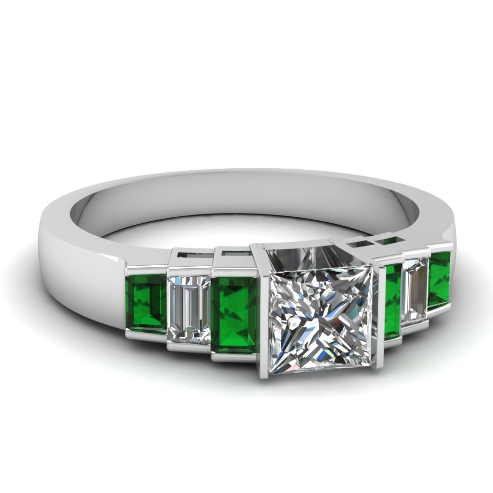 Baguette Diamond And Emerald Accented Princess Cut Engagement Ring