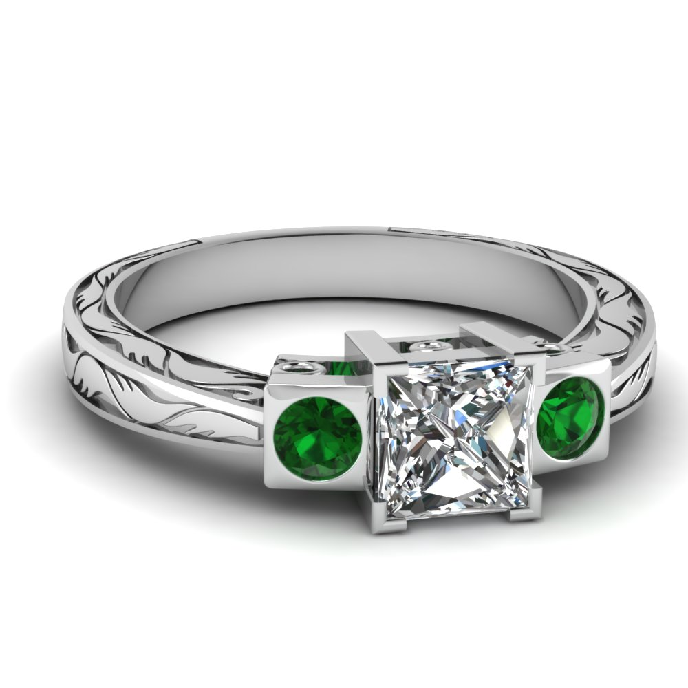 Engraved 3 Stone Green Emerald Engagement Rings