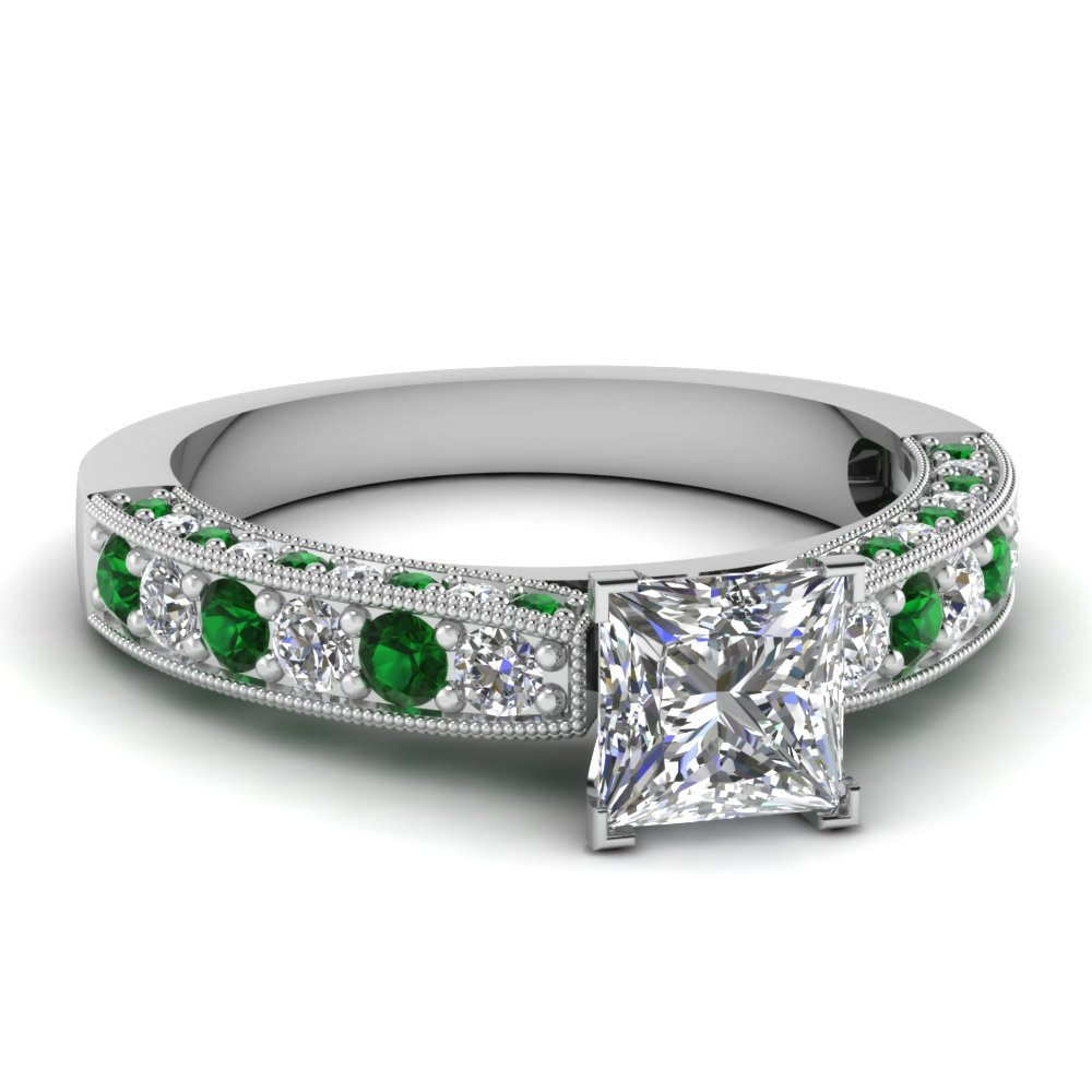 Pave Princess Milgrain Emerald Ring