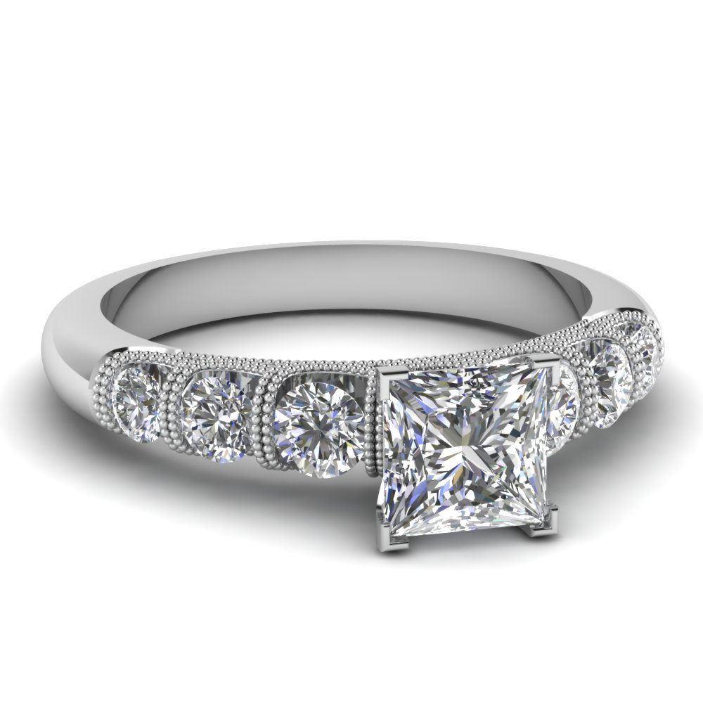 princess cut milgrain prong bar set diamond engagement ring in FDENS1783PRR NL WG