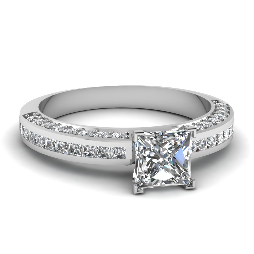Princess Cut diamond Side Stone Engagement Rings