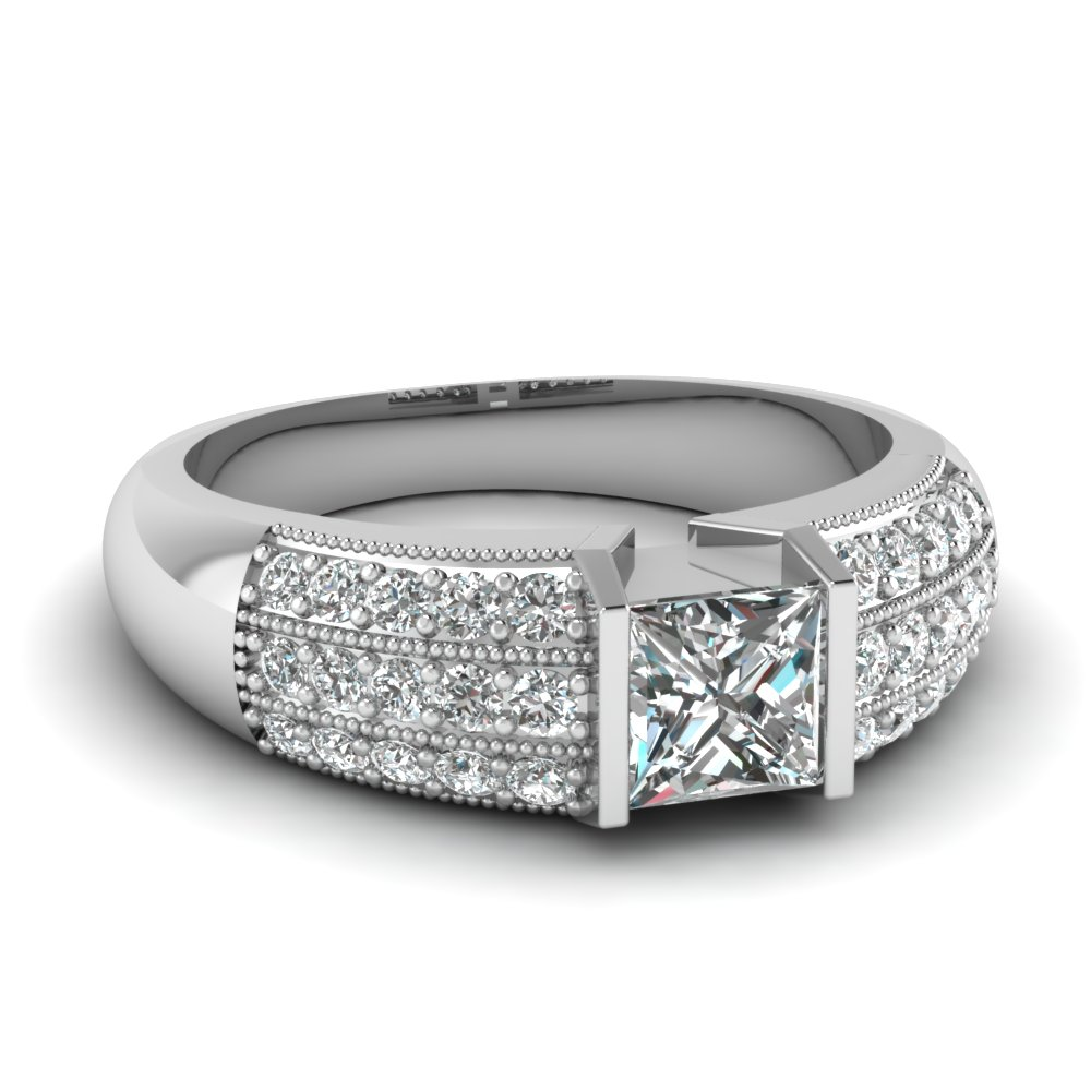 white gold princess white diamond engagement wedding ring - White Gold Princess Cut Wedding Rings