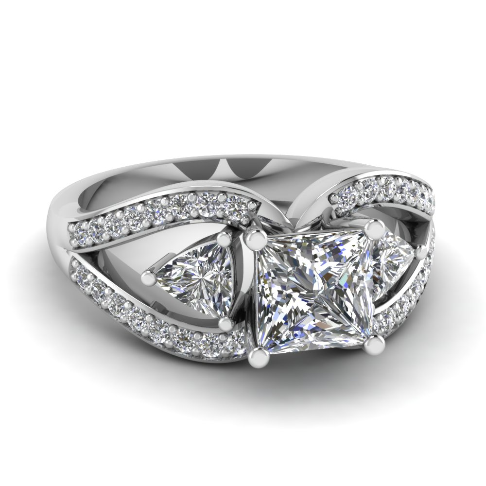 trillion butterfly princess cut diamond engagement ring in FD71589PRR NL WG