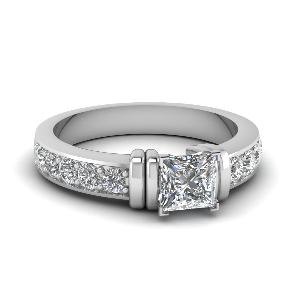 simple bar set princess cut moissanite engagement ring in FDENR957PRR Nl WG