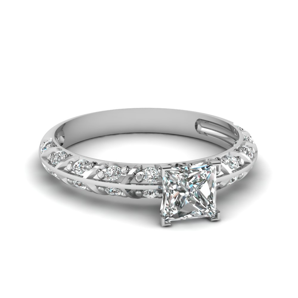Princess Cut Diamond Side Stone Rings