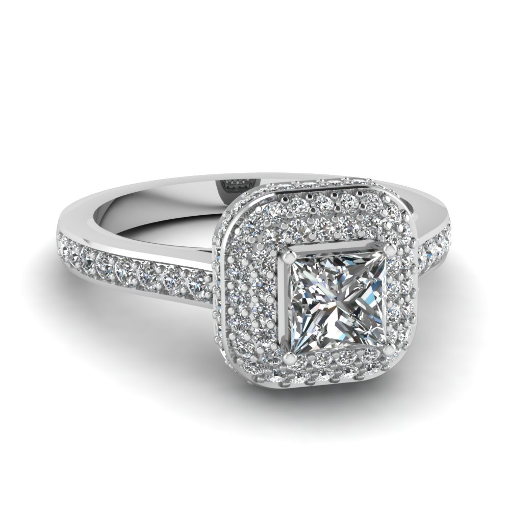 Halo Princess Cut Diamond Crown Engagement Ring In 14K White Gold