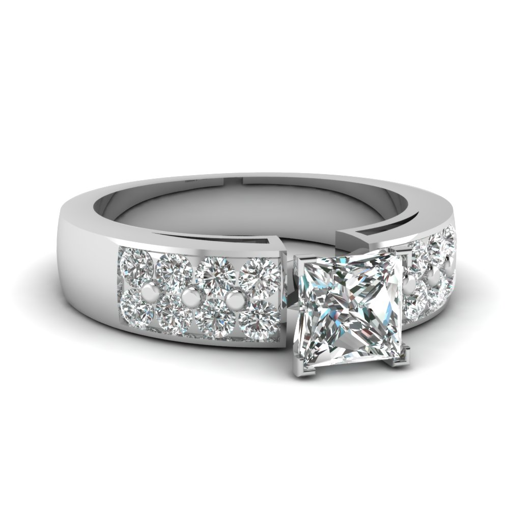 Princess Cut Diamond Ring With Thick Band