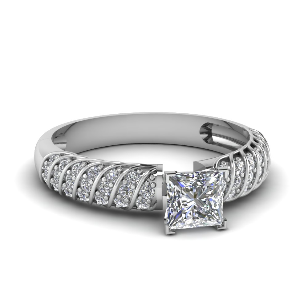 Rope Style Princess Cut Diamond Pave Ring