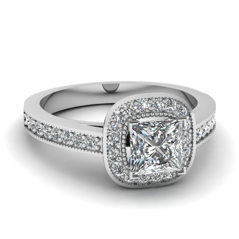milgrain pave halo princess cut diamond engagement ring in FDENS3146PRR NL WG