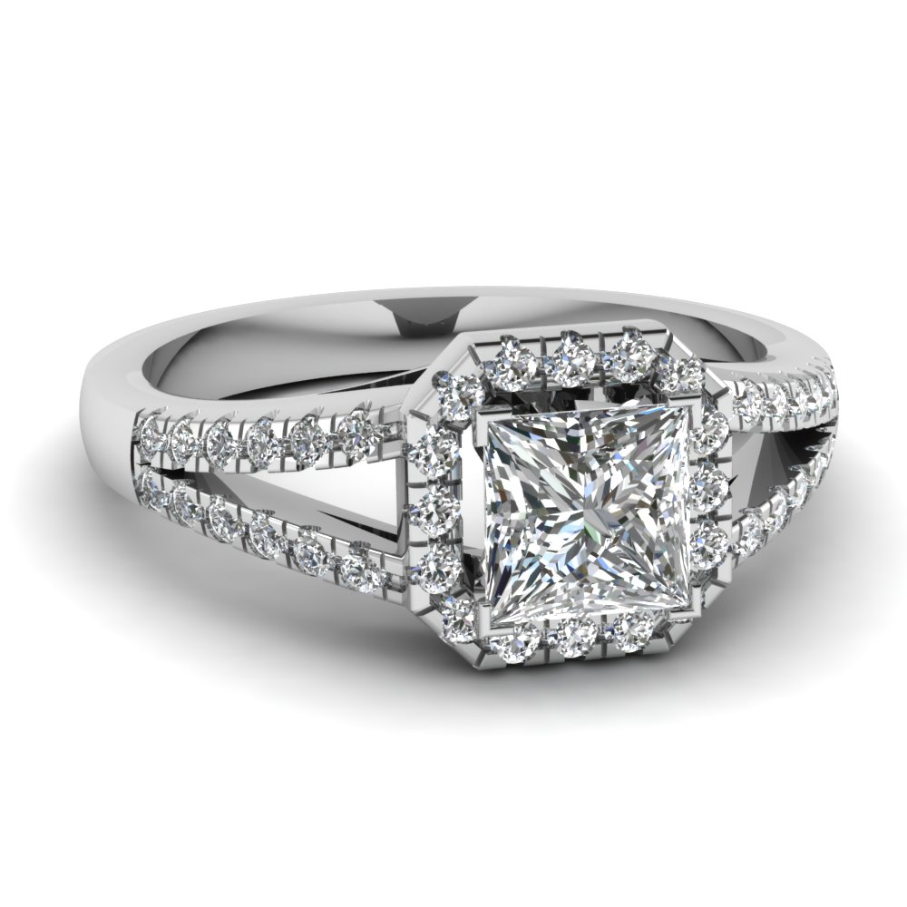 Affordable Princess Cut Halo Engagement Rings