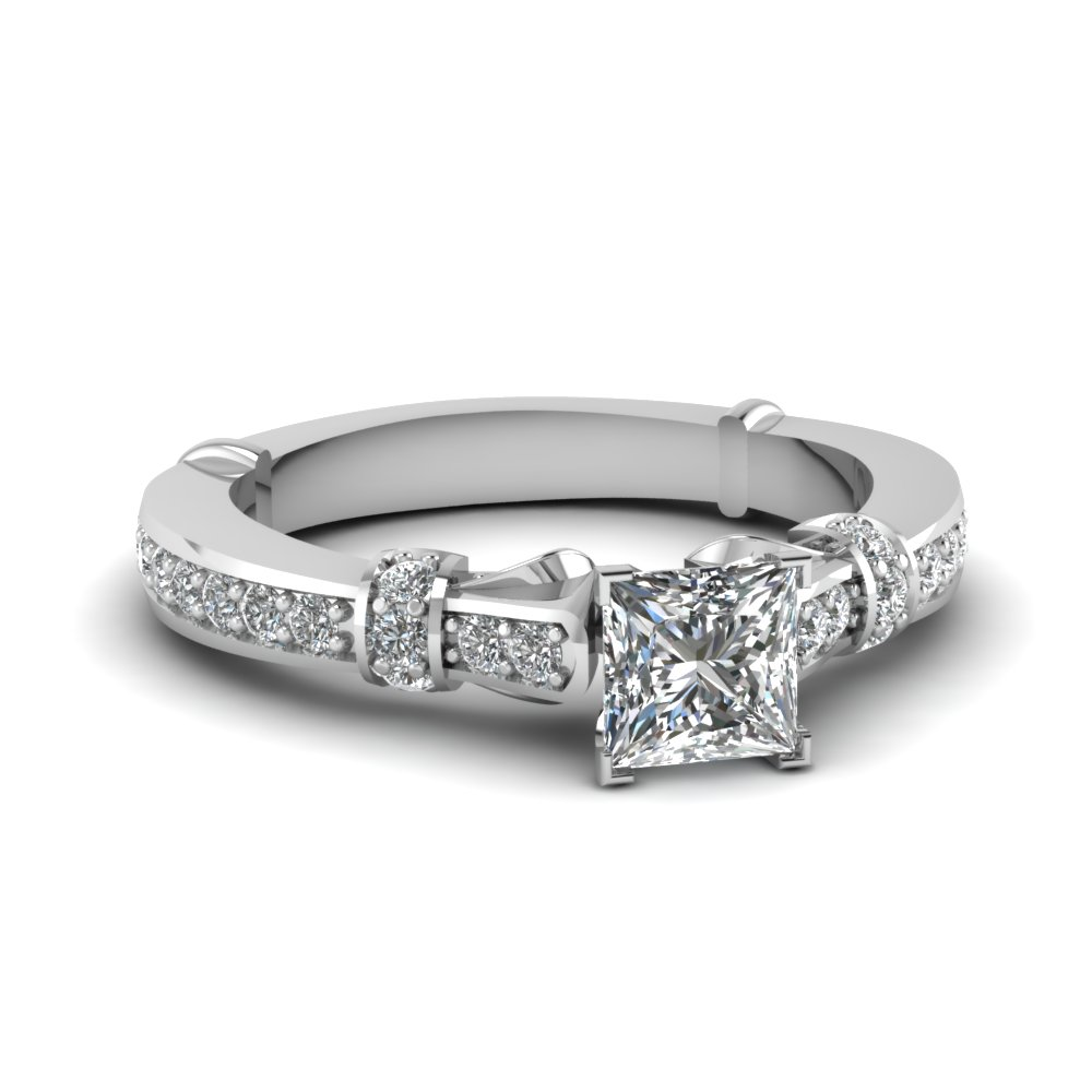 Princess Cut Pave Set Ring