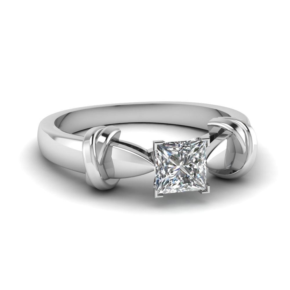 Dual Knot Princess Cut Solitaire Ring