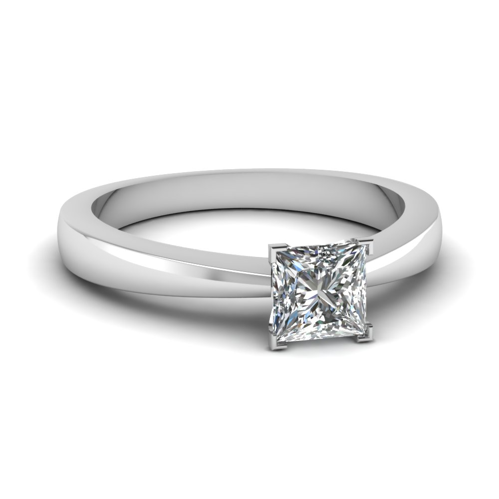 tapered traditional solitaire princess cut engagement ring in FDENR1282PRR NL WG
