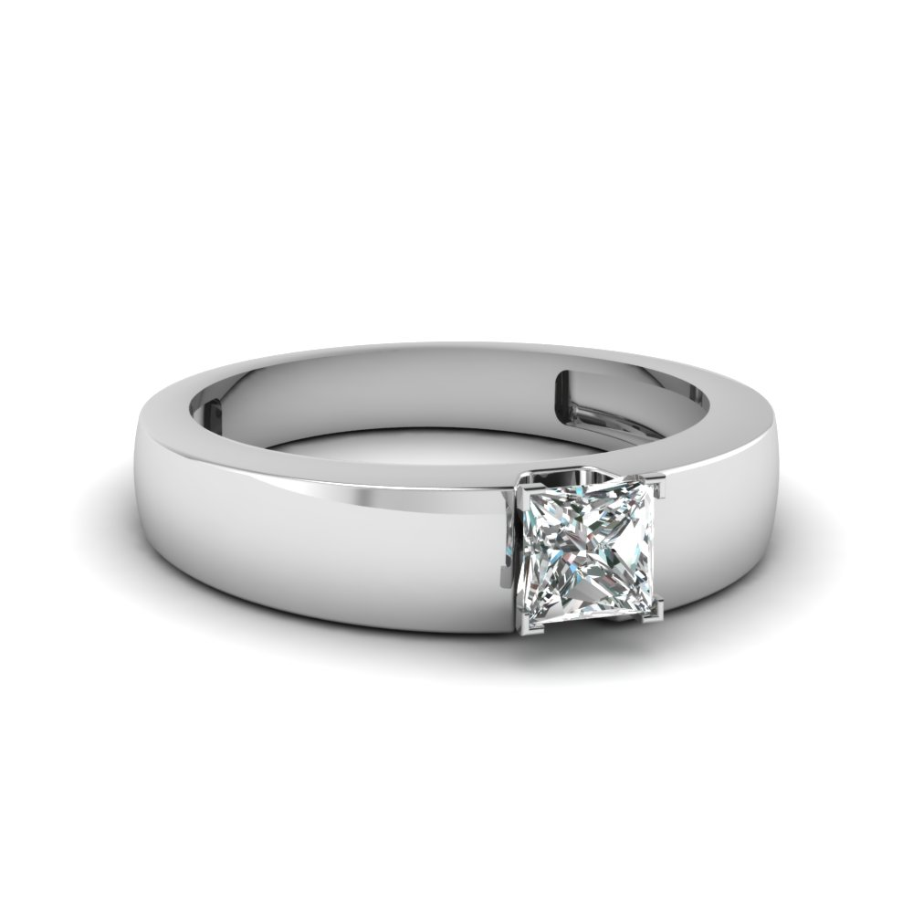radiant ring gold white diamond cut in shank flat solitaire engagement
