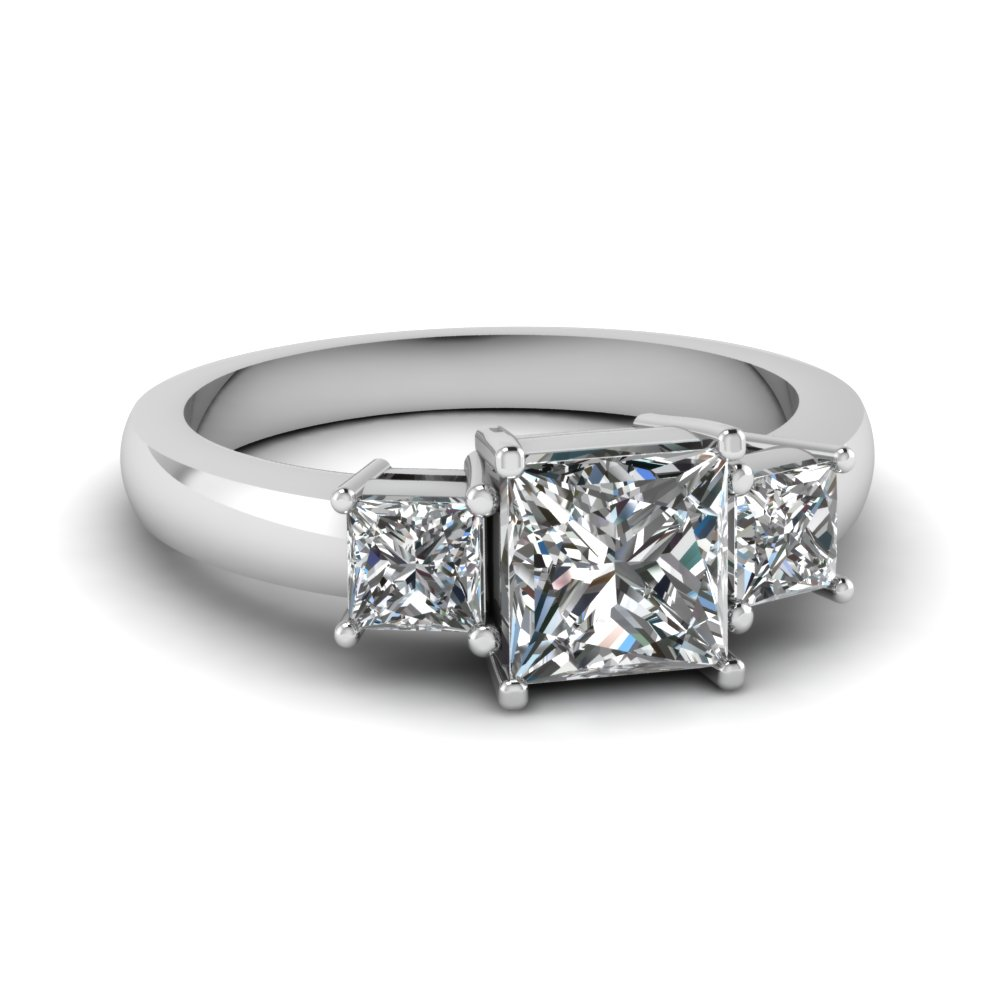 princess cut 3 stone ring in FDENR2375PRR NL WG