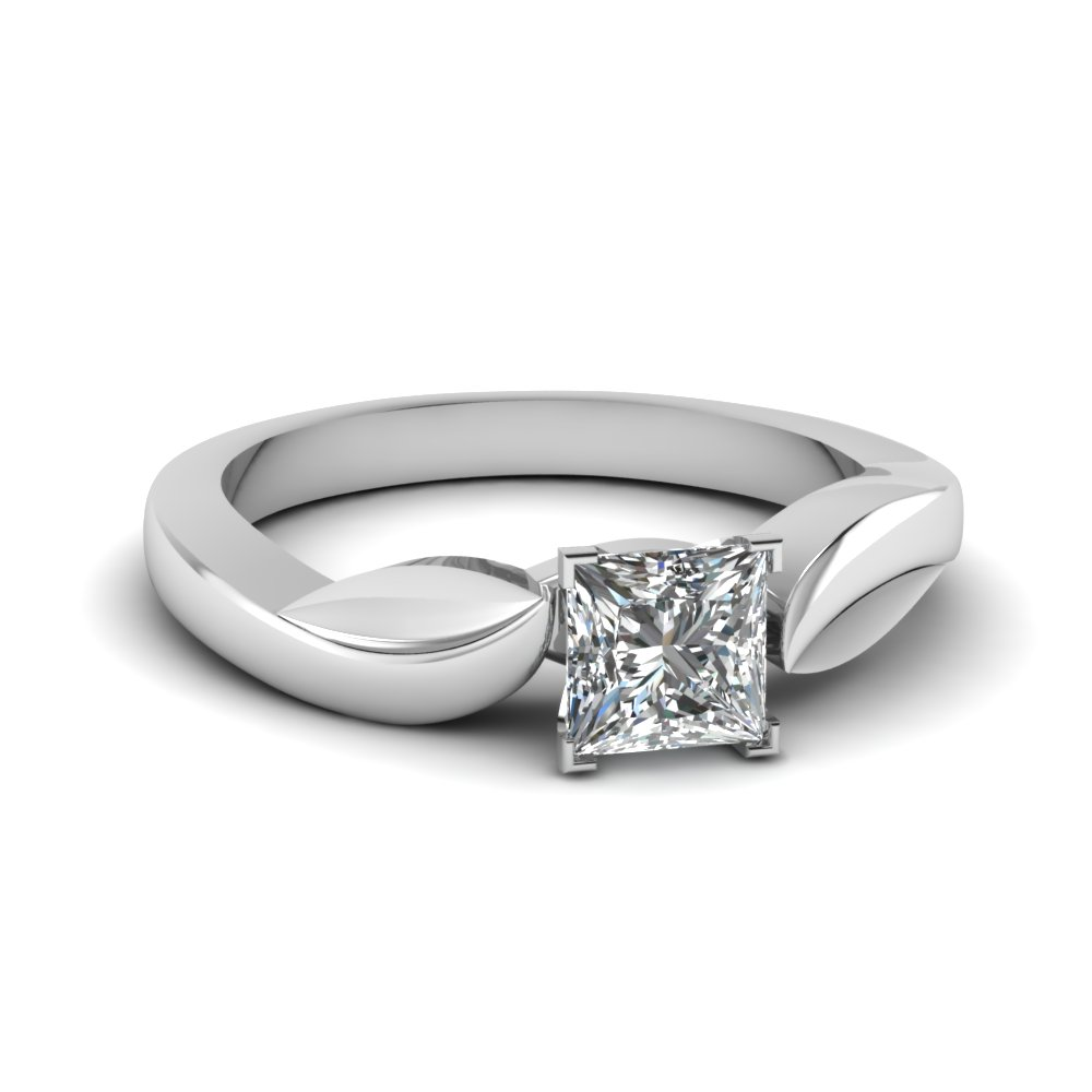 White Gold Princess Cut Solitaire Rings