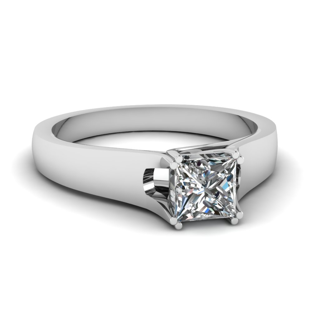Princess Cut Tapered Trellis Solitaire Diamond Engagement ...