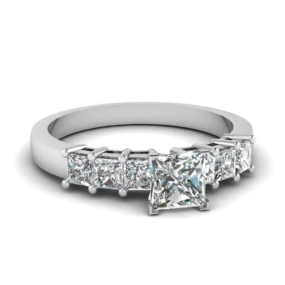 7 Princess Cut Diamond In Platinum Sparkle Engagement Ring