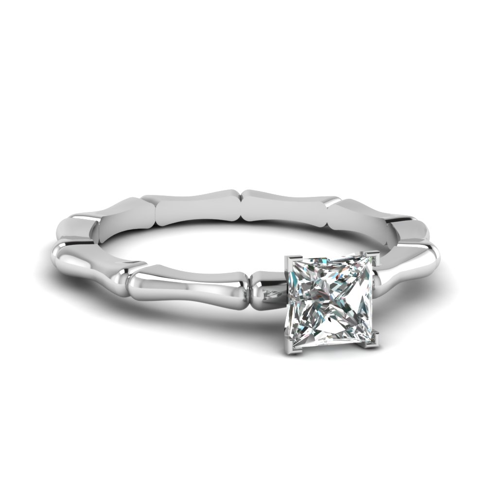 Bone Pattern Princess Solitaire Ring