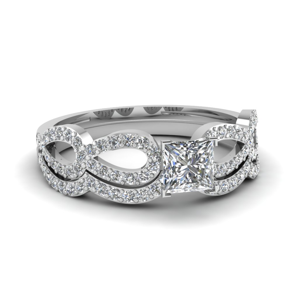 princess cut diamond infinity loop bridal set in FDENS3040PR NL WG 30