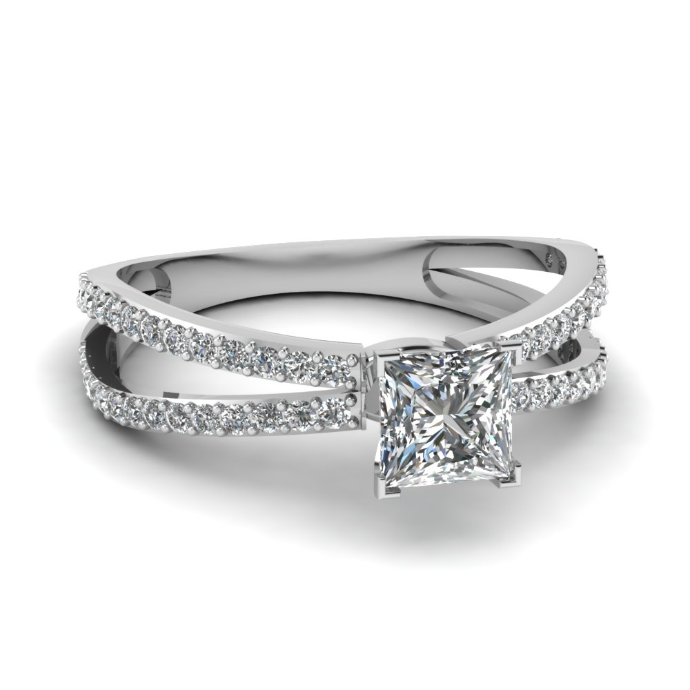 Platinum Princess Cut Split Shank Rings