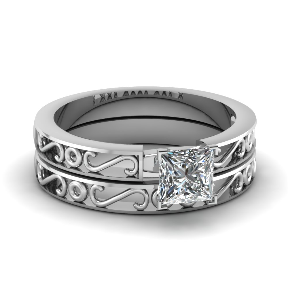 S Design Princess Wedding Ring Set