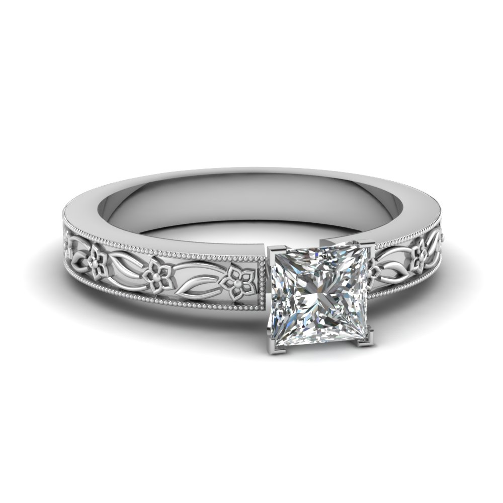 engraved flower princess cut solitaire engagement ring in FDENS3537PRR NL WG