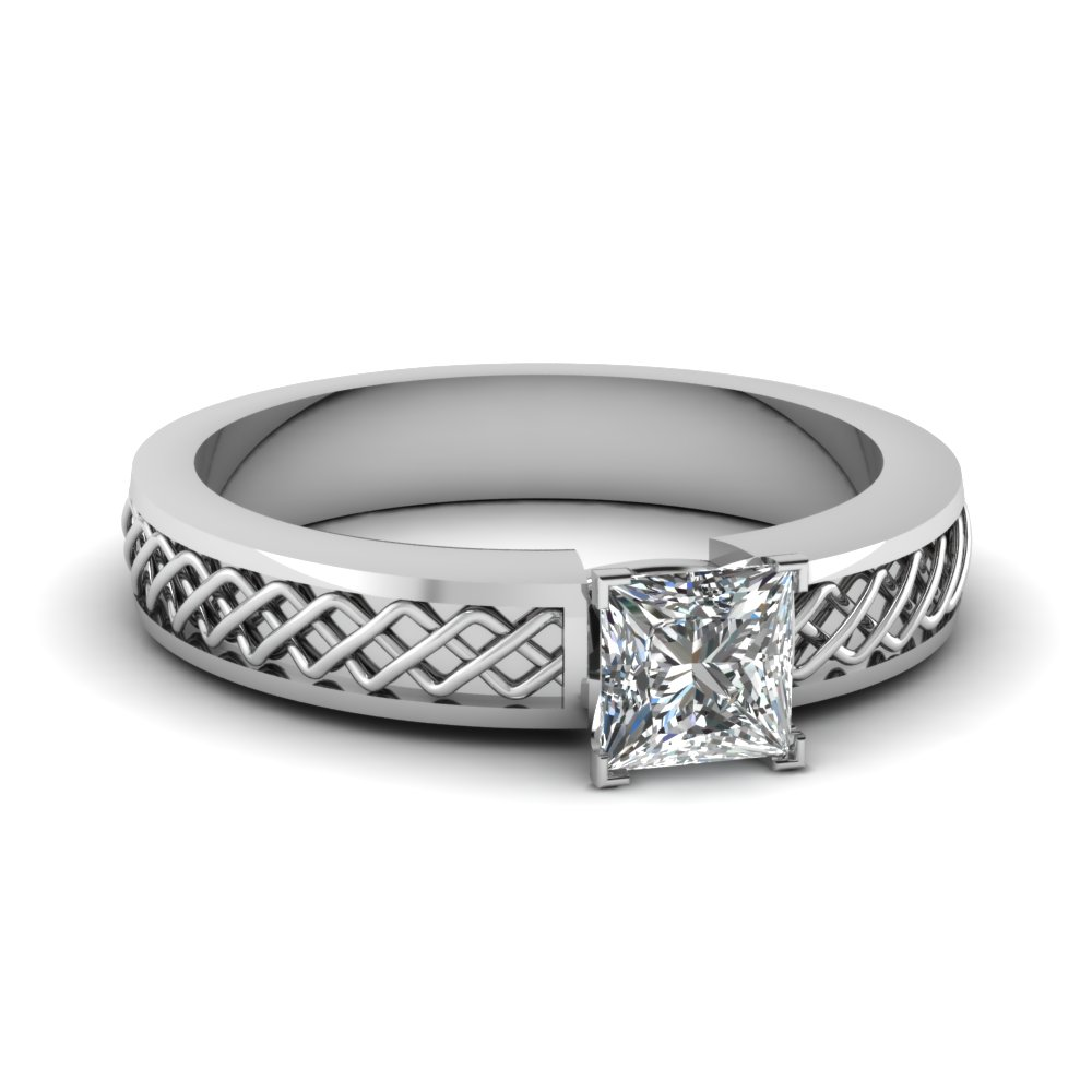criss cross princess cut solitaire engagement ring in FDENS3624PRR NL WG
