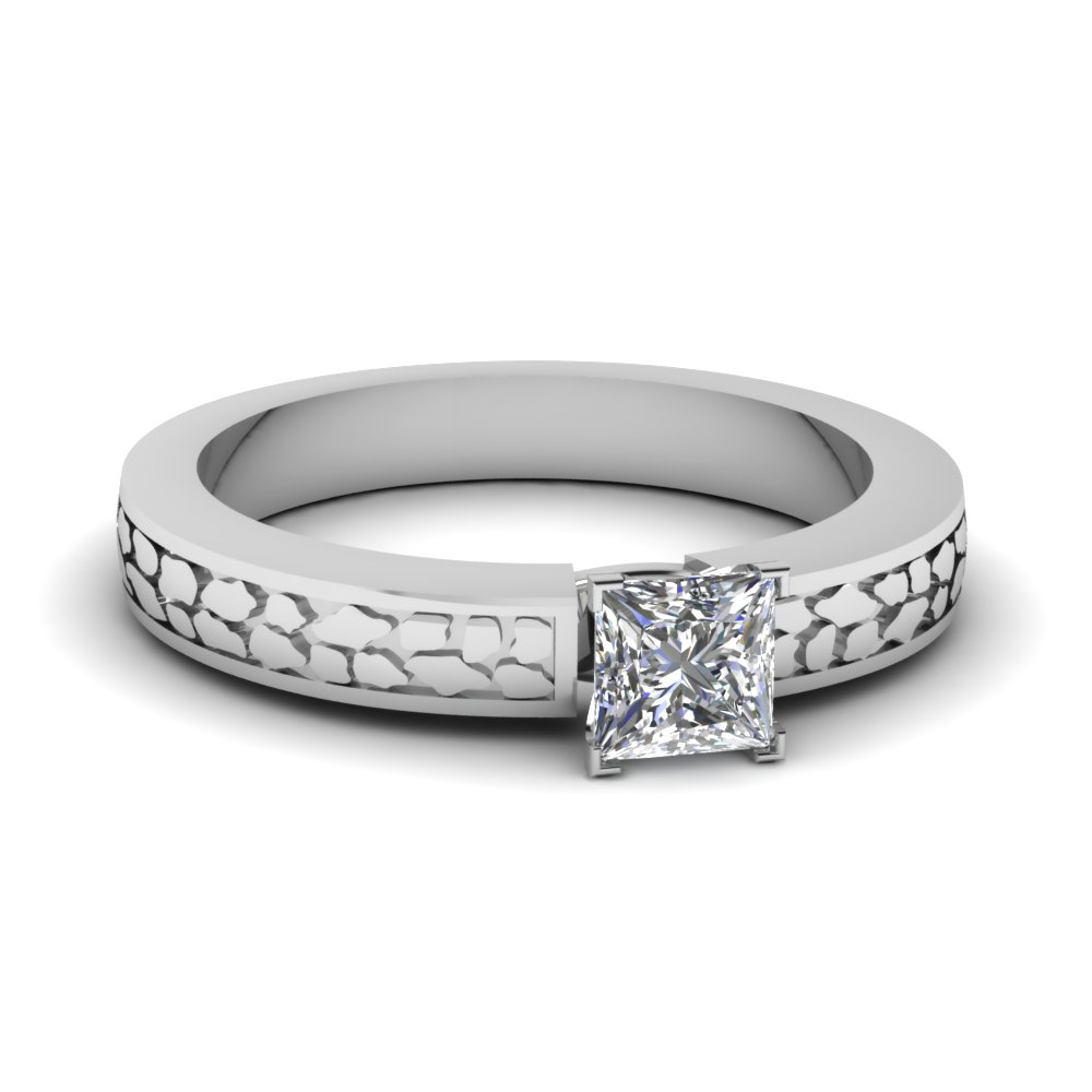 princess cut carved solitaire engagement ring in FDENS3640PRR Nl WG