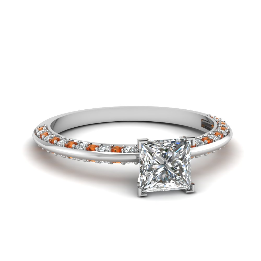 petite knife edge pave princess cut diamond engagement ring with orange sapphire in FDENS3128PRRGSAOR NL WG