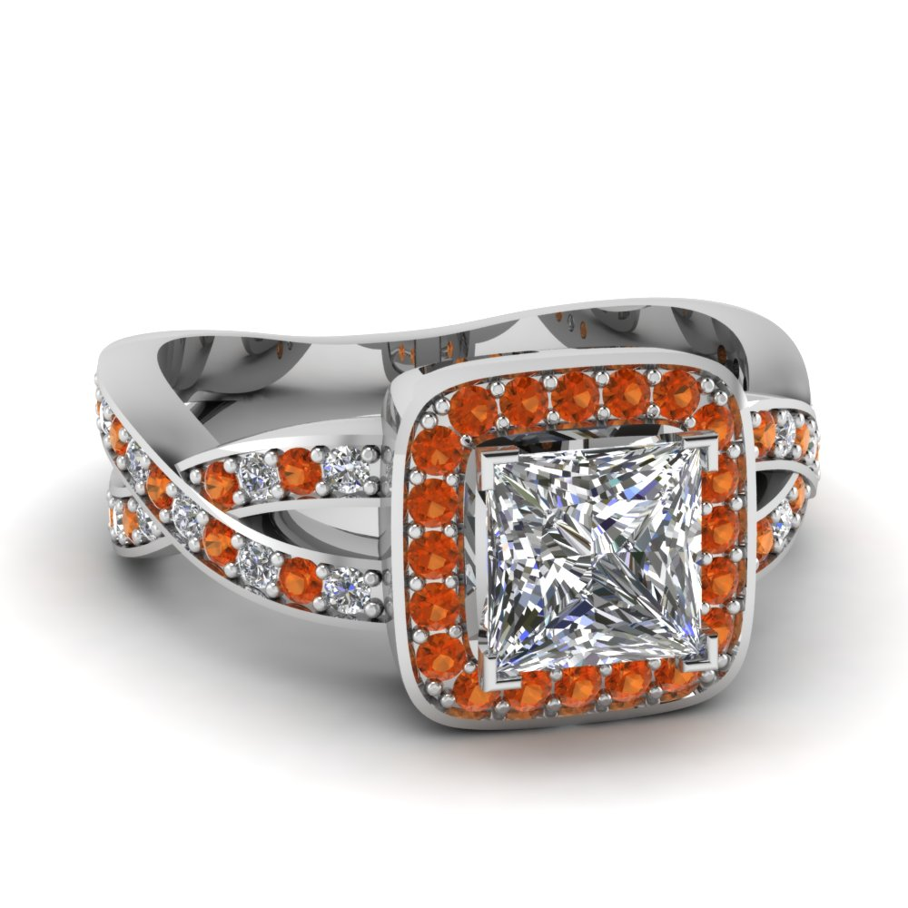 orange sapphire halo entwined princess diamond engagement ring in FDENS3237PRRGSAOR NL WG.jpg