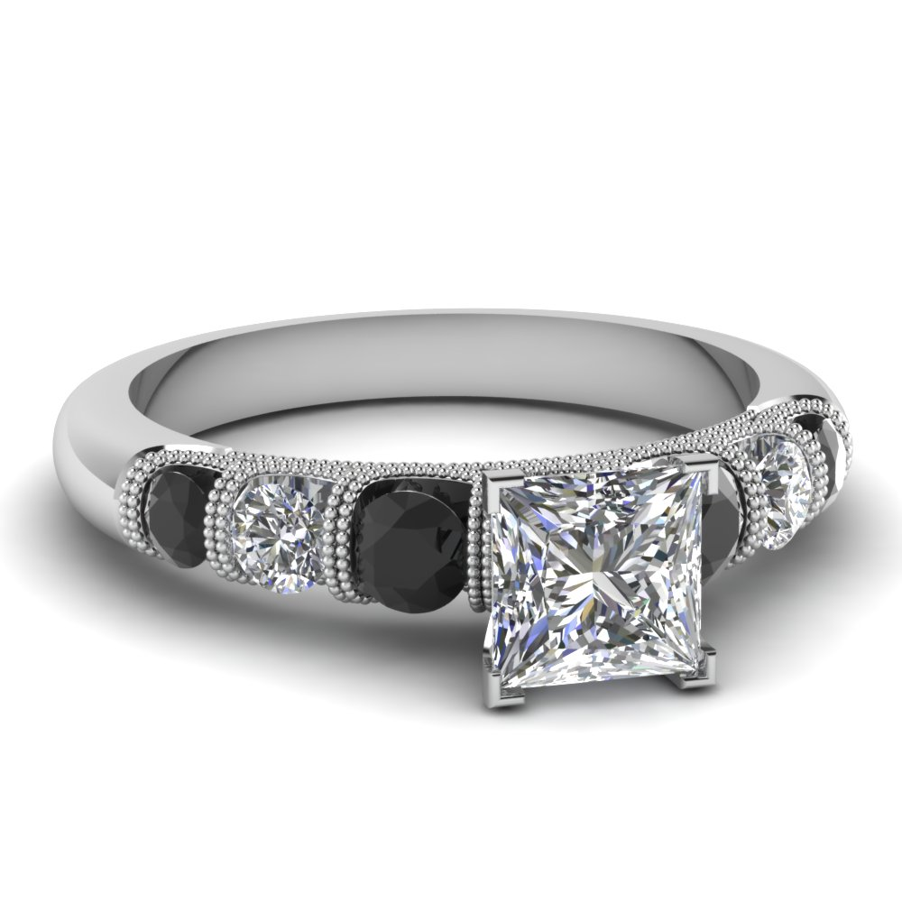 princess cut milgrain prong bar set engagement ring with black diamond in FDENS1783PRRGBLACK NL WG