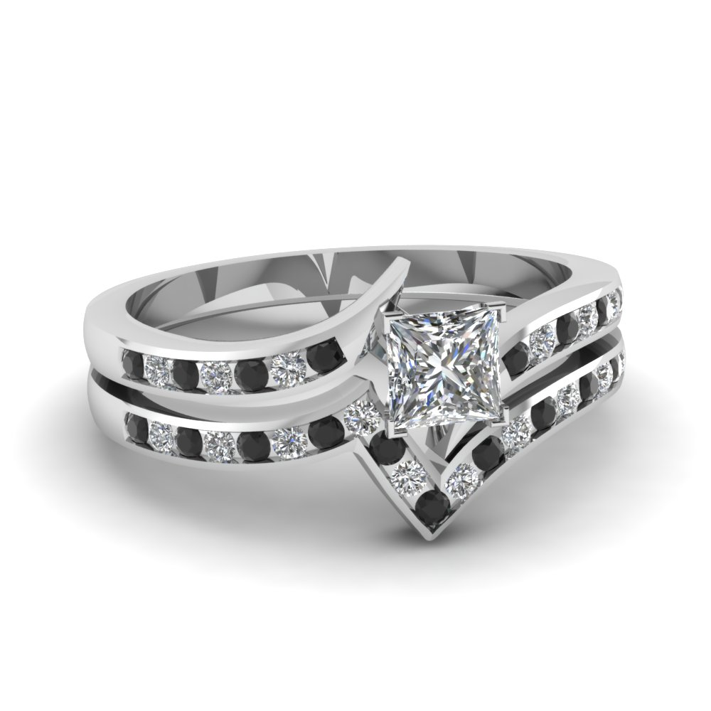 Black Diamond Platinum Ring Set