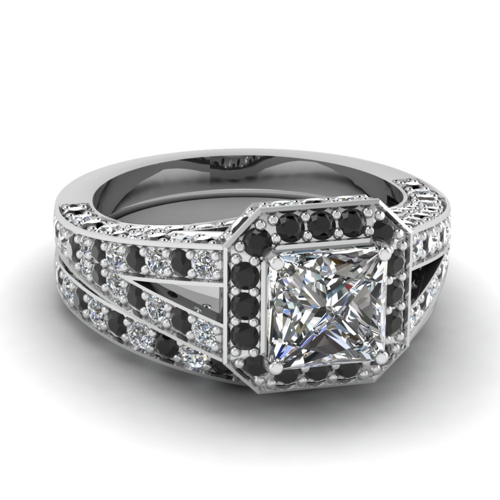 wedding rings with black diamonds micropave square halo wedding ring set with black 1084