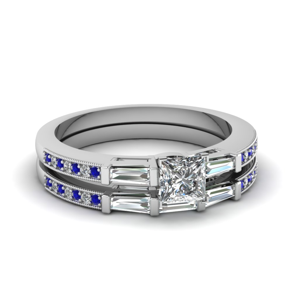 delicate baguette and princess cut diamond wedding set with sapphire in FDENS3074PRGSABL NL WG 30