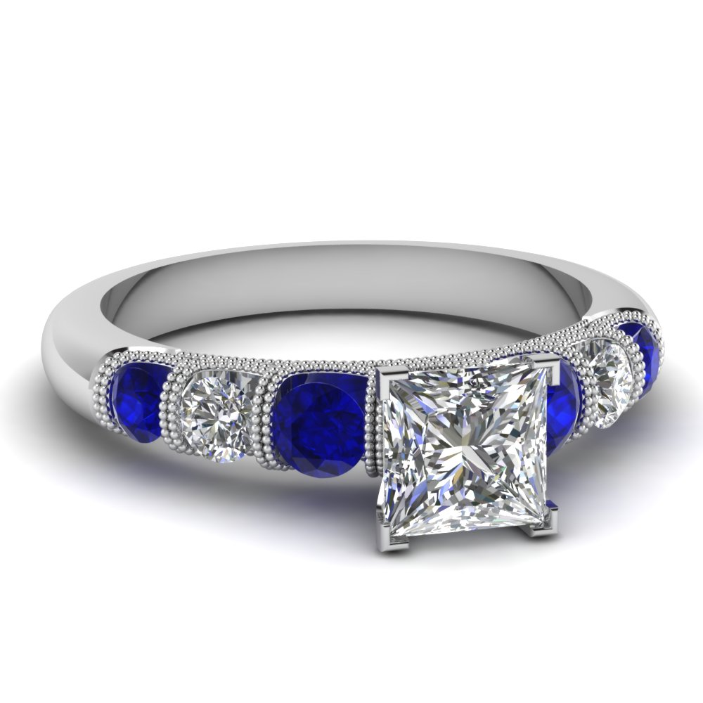 princess cut milgrain prong bar set diamond engagement ring with sapphire in FDENS1783PRRGSABL NL WG