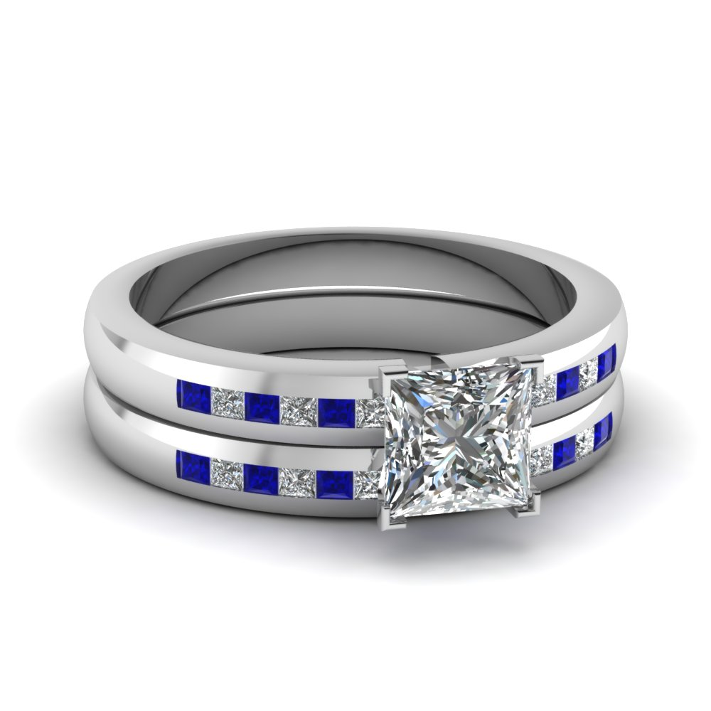 Channel Princess Blue Sapphire Wedding Ring Set