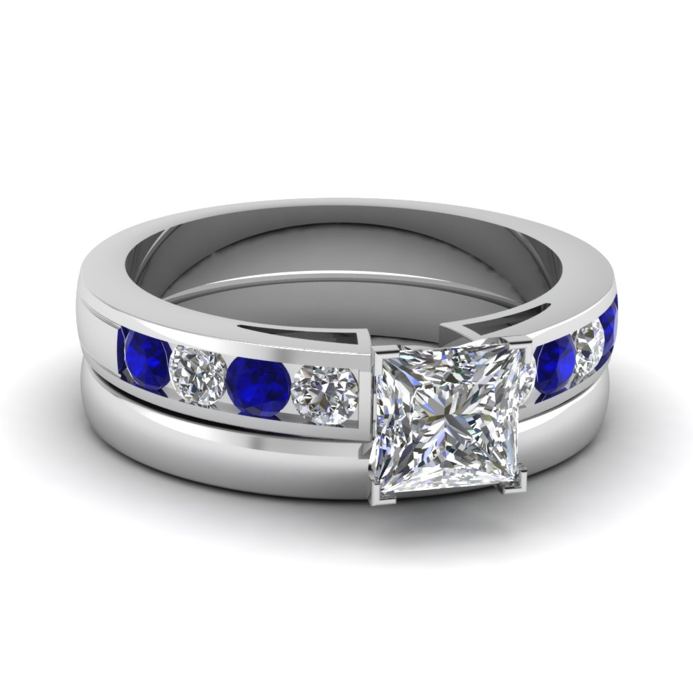 Platinum Sapphire Channel Ring Set