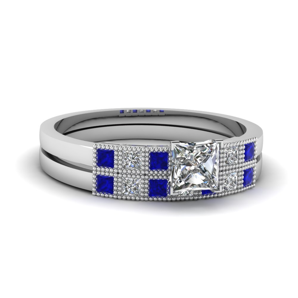 Milgrain Princess Cut Moissanite Set