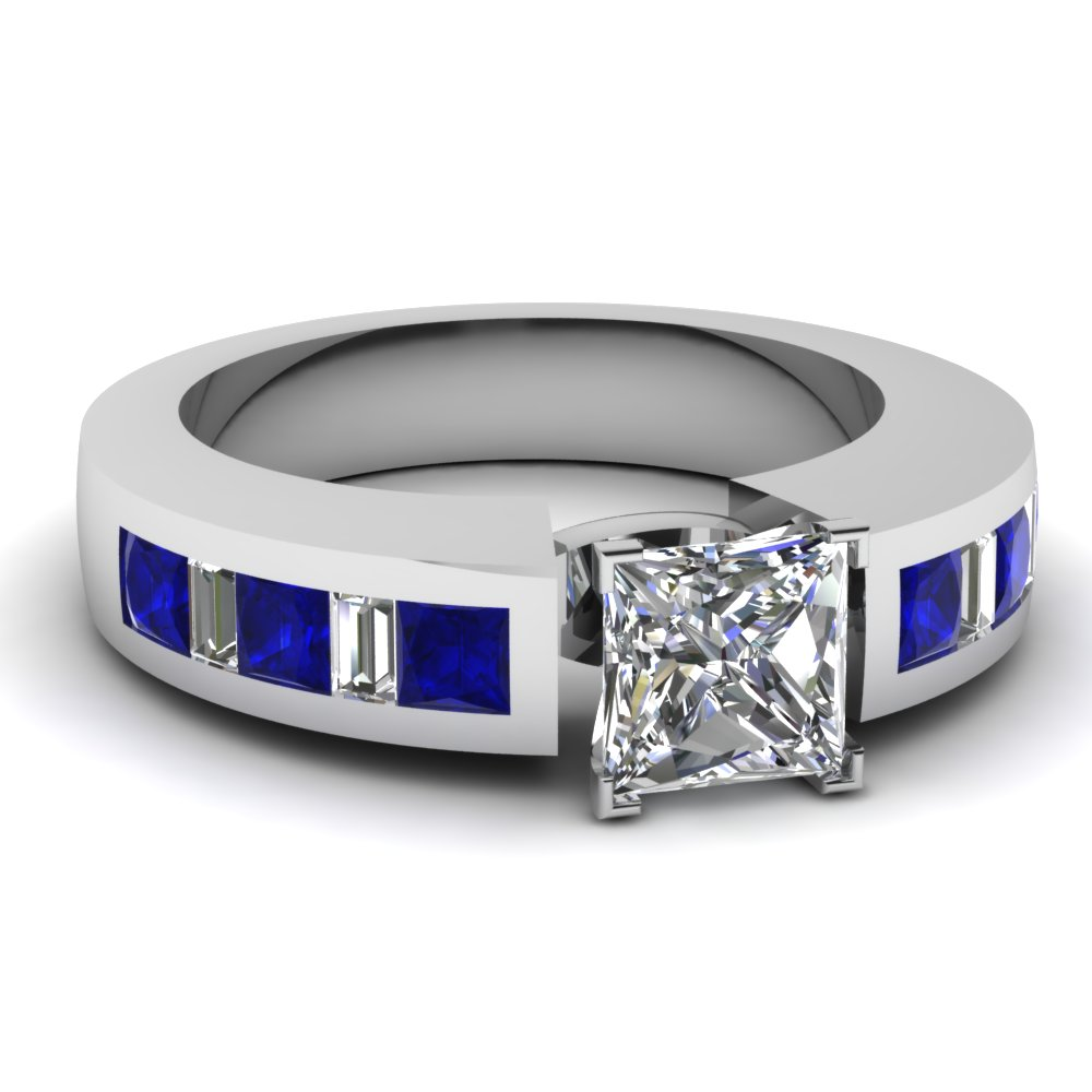 White Gold Princess Cut Diamond With Blue Sapphire Shank