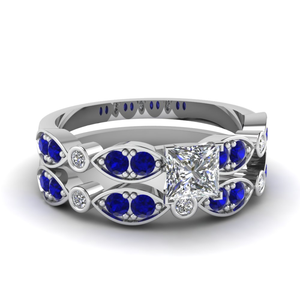 art deco princess cut diamond wedding ring set with sapphire in FDENS2035PRGSABL NL WG