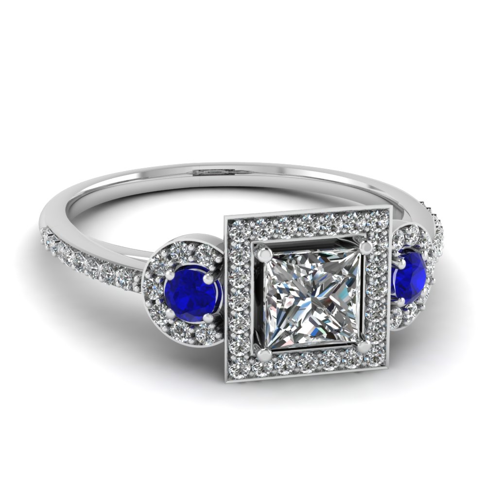 platinum princess cut blue sapphire halo engagement rings fascinating diamonds. Black Bedroom Furniture Sets. Home Design Ideas
