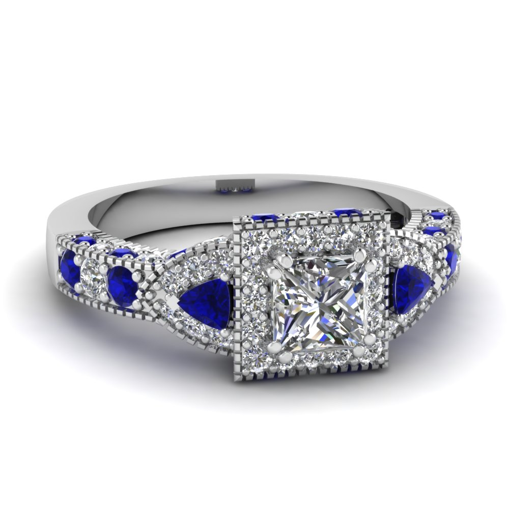 Princess Cut Diamond Halo Engagement Rings With Blue Sapphire In 14k White  Gold