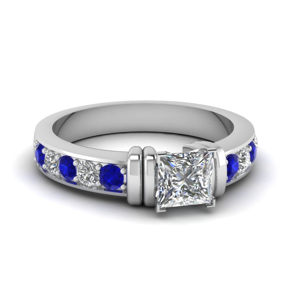 simple bar set princess cut diamond engagement ring with sapphire in FDENR957PRRGSABL Nl WG