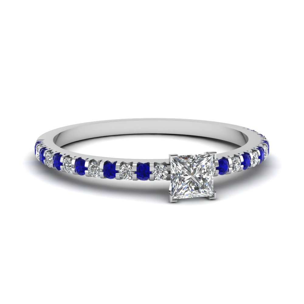 floating thin princess cut diamond engagement ring with sapphire in FDENS3009PRRGSABL NL WG 30