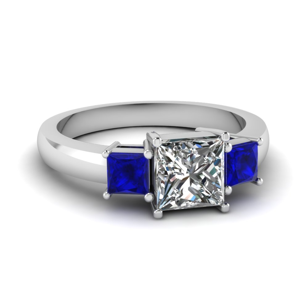 princess cut 3 stone ring with sapphire in FDENR2375PRRGSABL NL WG