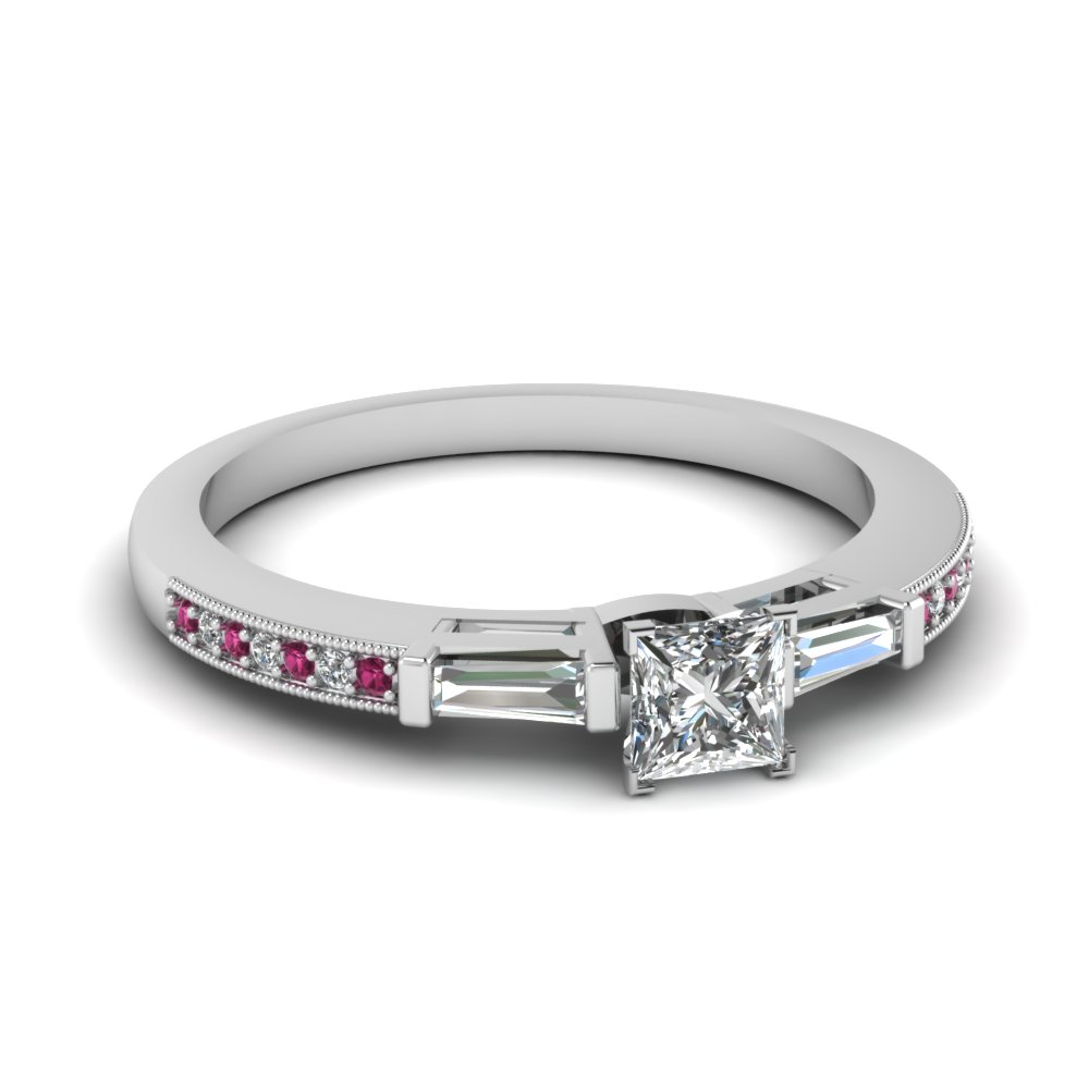Princess Cut Milgrain Engagement Ring in 14k White Gold